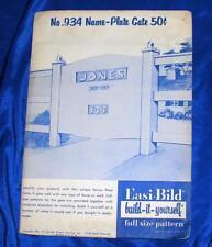 UNUSED 1956 VTG  EASI BILD DIY WOODWORKING CRAFT PATTERN 934 Name Plate Gate