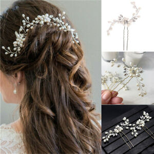 Pearls Wedding Hair Pins Clips Jewelry Comb Bridal Hair Accessories Headpiece UK