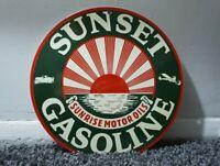 VINTAGE SUNSET GASOLINE PORCELAIN SIGN GAS MOTOR OIL SERVICE STATION RARE PUMP