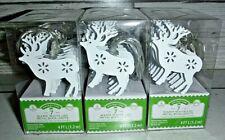 3 New Set Christmas Holiday Time 7 Warm White Led Metal Mini Reindeer Deer Light