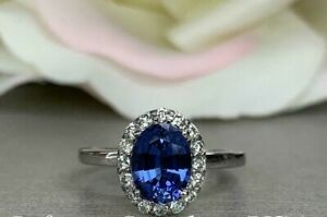1.75 CT Oval Blue Sapphire and Diamond Halo Engagement Ring 14K White Gold Over