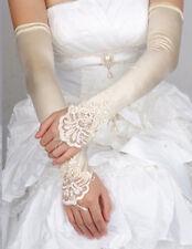 Women Long Wedding Lace Satin Bride Gloves Fingerless Party Bridal Dress US