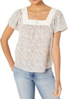 Lucky Brand Womens Tops Pink Size Small S Knit Square-Neck Floral $79 231