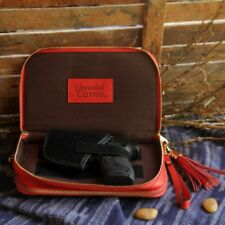 Bright Red Leather Compact Concealed Carrie Handbag
