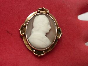 SUPER ANTIQUE VICTORIAN GOLD CARVED CAMEO C1850 GENTLEMAN PORTRAIT BUST BROOCH
