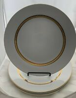 "RETRONEU IMPERIAL GOLD 4 Dinner Plates (10 3/4""). Porcelain with 22k Gold Band."