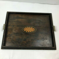 Wooden Serving Tray Platter With Handles Fan Rectangle Lightweight Decorative