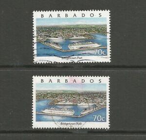 Barbados 2000 70c Bridgetown Port, both varieties, used.  SG1158 + 1158a