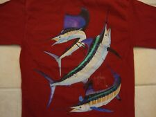 Guy Harvey Apparel Fish Pen Pocket Red Cotton T Shirt Size S