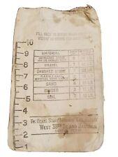 Rare Vintage Texas State Highway Lab Cloth Bag Sand Soil Gravel Stone Binder