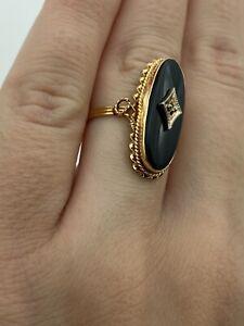 Vintage Solid 14k Gold Black Onyx Ring