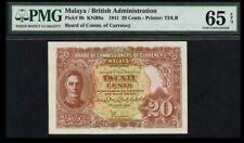 """1941 Malaya KGVI 20 cents Scarce Variety """"b & c"""" white dot PMG 65 EPQ #2"""