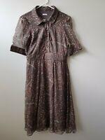 CACHAREL 100% Silk Puff Sleeve Dress Brown Polka Dot Spots SIZE 42 France