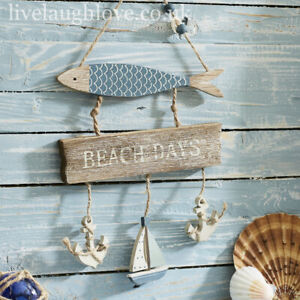 Nautical Wooden Driftwood & Fish Hanger W/ Boat & Anchors