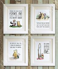 SET OF 4 Winnie the Pooh Quote Prints, UNFRAMED, Baby/Christening, Picture, Bear