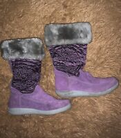 Timberland Big Girl's Purple Waterproof Suede Boots Size 5.5