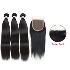 """Brazilian  Virgin Hair Straight 3 Bundles 14""""16""""18"""" With 14"""" 4 by 4 Lace Closure"""