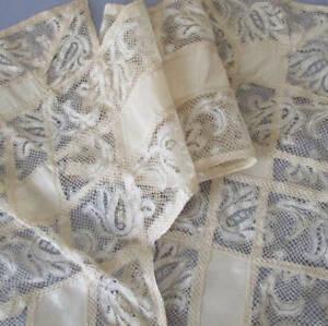 "Antique Cream Satin + FRENCH Lace Zig Zag Trim 12"" W X 84"" Salvaged Wedding Gown"