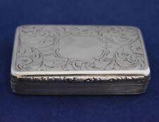 Victorian Sterling Silver Snuff Box by Foxall, Hill & Foxall, Birmingham 1854