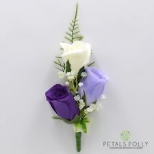 Artificial Wedding Flowers Silk Triple Rose Buttonhole Corsage 27 Colours Groom