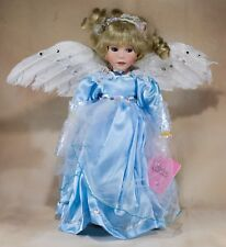 Paradise Galleries Collector's Feather Winged Angel Porcelain Doll 14 Inch