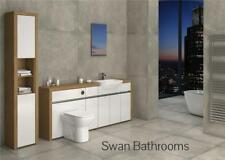 OAK / WHITE GLOSS BATHROOM FITTED FURNITURE WITH TALL UNIT 2400MM