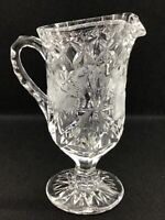 Vintage Clear Pressed Glass Pedestal  Pitcher/Creamer