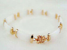 Luck Fortune Women Girl Bangle Bracelet Fashion Snow White Jade 18Kgp Blessing