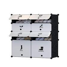 DIY 8 Cube Shoe Rack Multi Use Modular Organizer Storage Plastic Cabinets