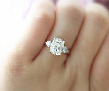 Certified 3.40Ct Oval Cut White Diamond Engagement Wedding Ring 14K White Gold