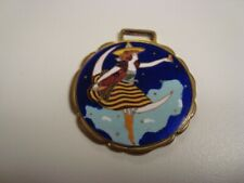 Circa 1910 Miller Lady-In-The-Moon Enameled Watch Fob, Milwaukee, Wisconsin