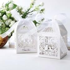 50 PCS Love Bird Laser Cut Candy Gift Boxes With Ribbon Wedding Party Favor Gift