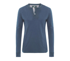 HAMILTON AND HARE BLUE HENLEY LONG SLEEVED LYOCELL & COTTON T SHIRT SIZES M L XL
