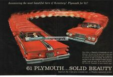 1961 PLYMOUTH Fury Carnival Red 2-Door Coupe CENTERFOLD Vtg Print Ad