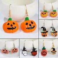 Fashion Halloween Pumpkin Enamel Dangle Drop Hook Earrings Resin Women Jewelry