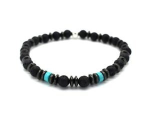 Mens Bead Bracelet Black Volcanic Lava Hematite Turquoise 925 Sterling Silver