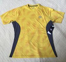 Umbro Moisture Wicking Yellow/Gray Performance Shirt Size Mens Small