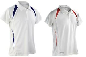 MEN'S - STYLISH HI-TECH BOWLS POLO SHIRT - WHITE WITH RED or NAVY TRIM - SALE