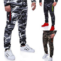 Mens Slim Fit Tracksuit Bottoms Skinny Jogging Joggers Sweat Pants Camo Trousers