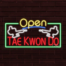 """Brand New """"Open Tae Kwon Do"""" w/Border 37x20X1 Inch Led Flex Indoor Sign 35578"""