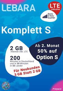 D Netz Lebara Prepaid inkl. Komplett S mit 2GB LTE + 50 Minuten in 50 Länder
