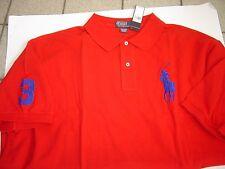 BIG RALPH LAUREN RED W/ROYAL LG PONY S/S MESH POLO SHIRT SIZE 4X $110