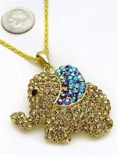 Brown Topaz Baby Elephant Animal Lover Crystal Rhinestone Necklace Pendant Charm