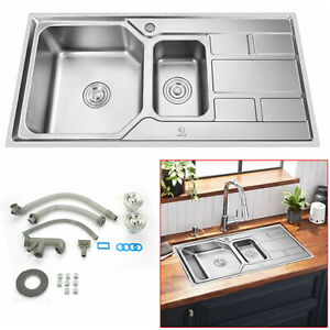 Stainless Steel 1.5 Double Bowl Kitchen Sink Basket Waste Drainer Plumbing Kit