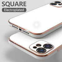 For iPhone 11 12 Pro Max XS XR X 8 7 Square Plating Shockproof Soft Case Cover