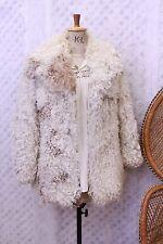 Vintage Afghan sheepskin mongolian goat Fur 60s 70s penny lane coat jacket S