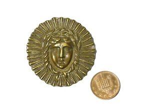 Antique Brass Roman God with Laurel Wreath Badge Mount Furniture Fitting