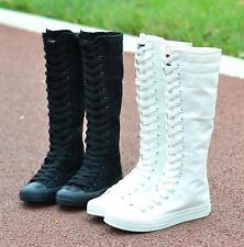 Women Fashion Trainers Lace Up Knee High Boots Low Heel Lady Canvas Chic Sneaker
