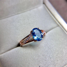 2.10Ct Oval Blue Topaz Diamond Solitaire Engagement Ring In 14K Rose Gold Finish