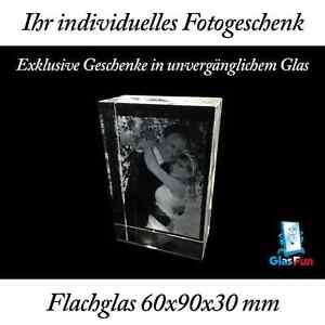 2D Flachglas Glas Quader Kristall Geschenk Foto Graviert Glasfun 60x90x30 mm